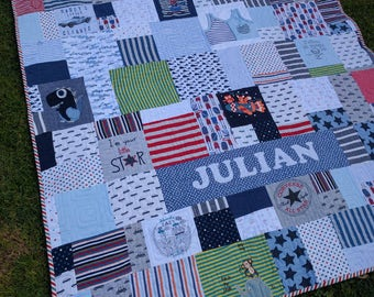 Custom Baby Clothes Quilt - Memory Blanket - Memory Quilt - Boy Quilt - Baby Blanket custom quilted made to order - deposit to secure.
