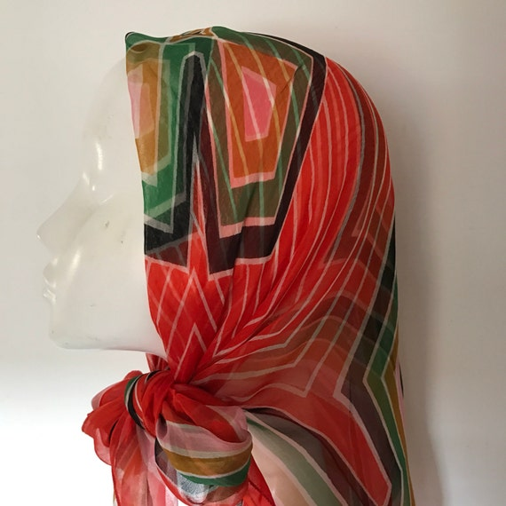 Vintage scarf geometric striped rayon chiffon red black 1940s colours sheer square headscarf turban 1970s rockabilly
