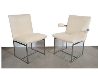 Milo Baughman Dining Chairs 6 Chrome Dining Chairs