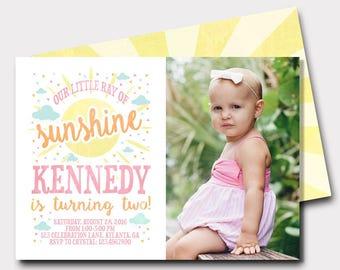 Sunshine Birthday Invitation | You Are My Sunshine | Our Little Sunshine | First Birthday | Second Birthday | Summer Birthday Invitation