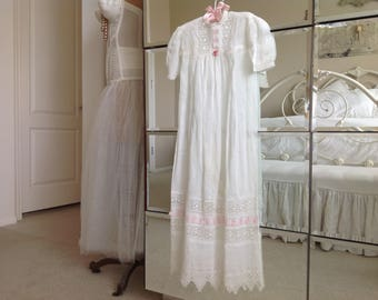 Stunning antique blessing dress with gorgeous antique lace and pink ribbon*ribbon work