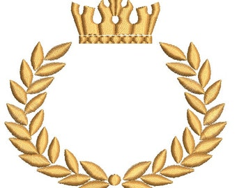 Crown and laurel wreath embroidery design