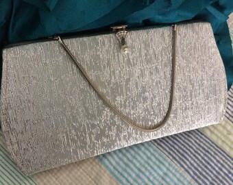 Vintage Silver Fabric Evening Bag/Clutch