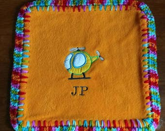 """Personalized Baby Lovey, Flying themed tag along security blanket, Helicopter, Airplanes 18""""x18"""""""