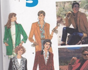 Simplicity 7522 Vintage Pattern Womens Lined or Unlined Jackets in 4 Variations Size 10,12,14,16 UNCUT