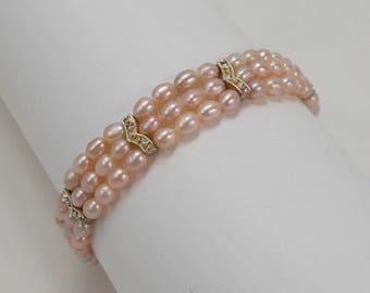 Pretty Little Three Strand Pink Faux Pearl Bracelet  2962