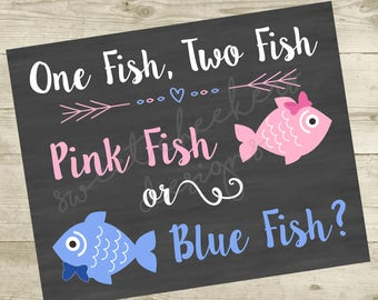 One fish two fish etsy for Fishing gender reveal