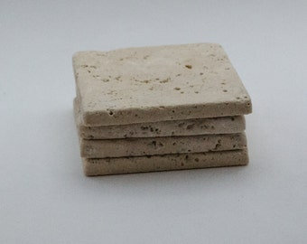 Beige Travertine Coasters. Set of 4