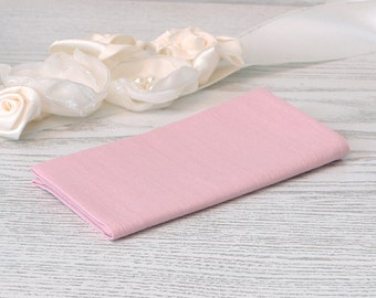 Pocket square Parfait Pink Tickled David's Bridal  Pastel pink hanky  Pale pink handkerchief