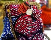 African Print Ankara Fabric Pink Swirl Kiss Clasp Purse Bag with Purse Chain