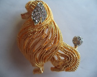 Vintage Signed Capri Goldtone/Rhinestone  Poodle   Brooch/Pin  Fabulous
