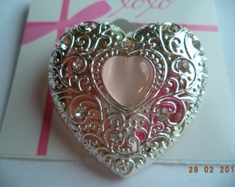 Vintage Unsigned Silvertone/AB Stones Heart within Heart Brooch/Pin