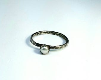 Pearl Stacking Ring, Freshwater pearl ring, silver stacking ring, narrow band ring, engagement ring, simple pearl ring