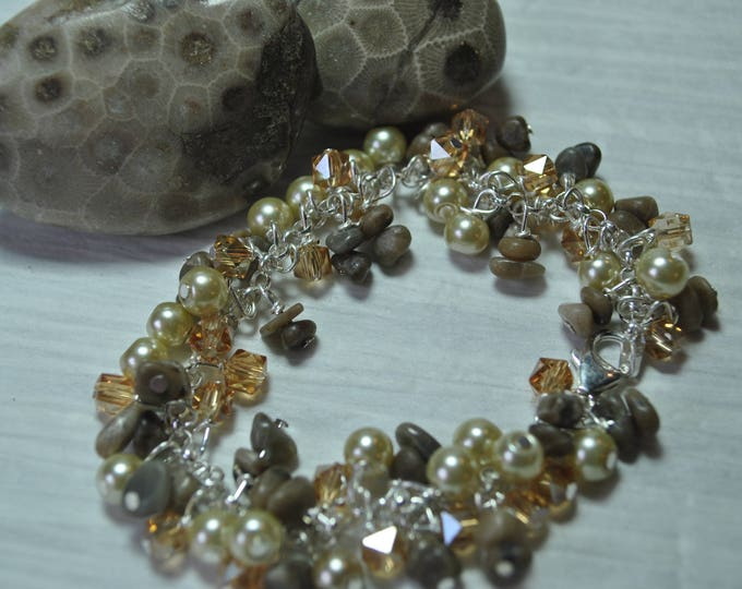 Petoskey Stone sterling silver dangle bracelet with pearls and crystals, Lake Michigan Bracelet,  charm bracelet