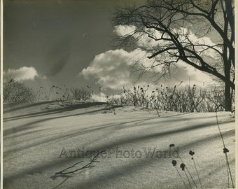 Snow field antique winter art photo by Everett F. Clark