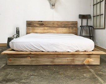 rustic modern platform bed frame and headboard loft style solid wood made in usa - Modern Platform Bed Frames