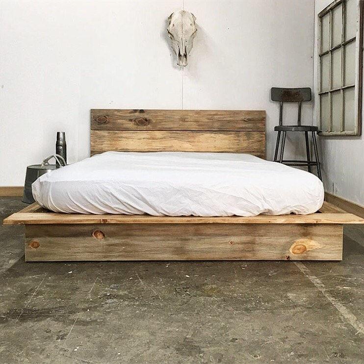 Modern Wood Bed Frames: Rustic Modern Platform Bed Frame And Headboard Loft Style