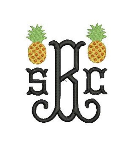 pineapple design mini file for embroidery machine monogram