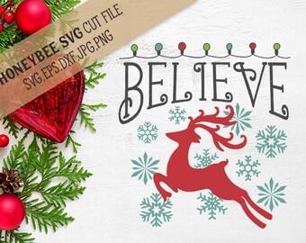 Believe Christmas Lights svg Reindeer svg Christmas decor svg Holiday decor svg Holiday svg Silhouette svg Cricut svg eps dxf Snow svg