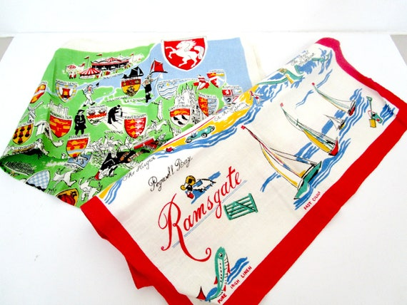 Set of 2 Vintage Linen Tea Towels, Ramsgate and England Map.  Irish Linen Tea Towel, Vivid Colors, Immaculate, Never Used