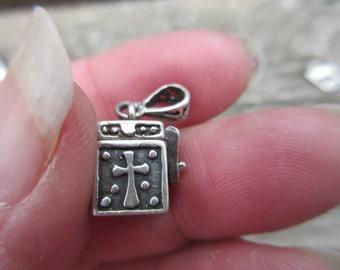 Sterling Silver 925 Prayer Box Pendant Charm