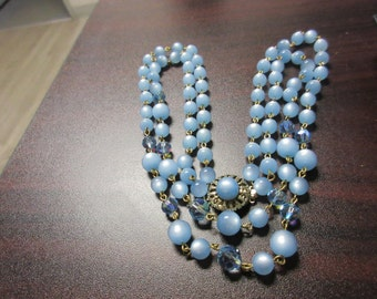 Blue Lucite Moonglow & Crystal Necklace
