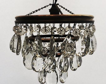 SOLD similar available  Vintage 3 Tier Brass Glass Chandelier antique Ceiling Light