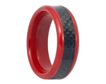 Black Carbon Fiber Inlay Red Tungsten Carbide Wedding Band 8mm Tungsten Inlaid Ring Carbon Fiber Inlay 8mm Mens Tungsten Ring Beveled Edges
