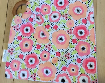 Natural Wooden Teether Lovey Blanket -- Coral and Mint Floral