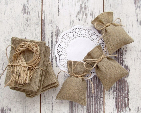 Wedding Gift Bags Burlap : 25 Wedding Rustic Favor Bags, Burlap Gift Bags, Candy Bags3 ? 4