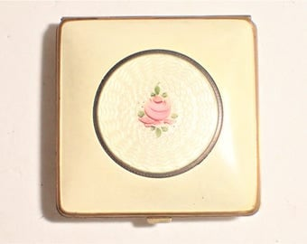 Elgina Fifth Avenue Beige Guilloche Enamel Cabbage Rose Powder and Rouge Compact