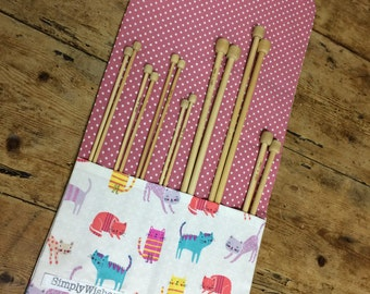 Cats patterned Knitting Needle Roll
