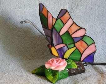 Accent Lamp or Nightlight - Stained Glass Butterfly