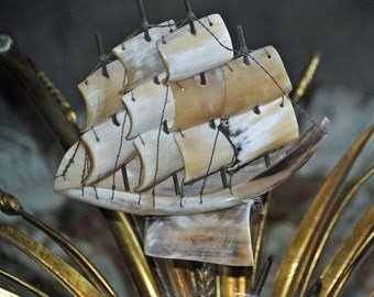 Vintage Sailing Ship from Steer Horn