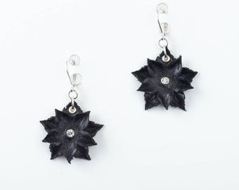 Leather Flower Earrings in Black or White