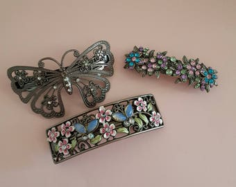 Lot Vintage Barrettes/ metal barrettes/ adult barrettes/ french clip barrettes/ sparkly hair clip/ hair accessories/ butterfly/ flowers