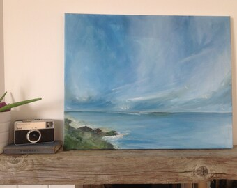 Original acrylic painting on canvas, Out to Sea