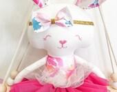 Punchy Pink Bloom Bunny Doll || Handmade Heirloom Bespoke Treasure Keepsake Baby Dolly Decor Gift
