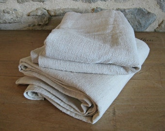 homespun hemp linen fabric vintage French torchon for reworking early 1900s