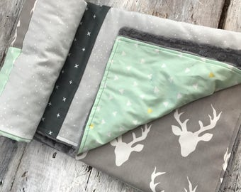 Baby blanket ,deer heads, mint green, grey