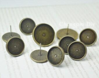 100 Post Earrings- Brass Antique Bronzed 8mm/ 10mm/ 12mm/ 14mm/ 16mm Round Bezel Ear Studs W/ Macthing Rubber Ear Nuts Wholesale