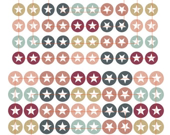Digital collage sheet cabochon template images 005 star of stars - 12, 14, 16, 18 mm