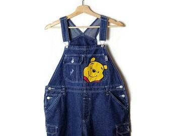 Winnie the pooh Denim Bib Shorts /checked overalls/All in One Carpenter/Farmer/Gardening*