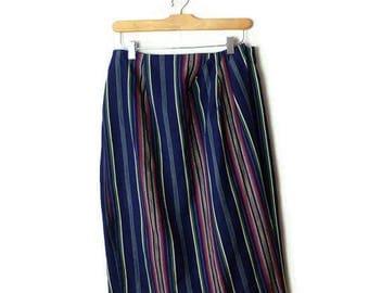 Vintage Blue x Multi color Stripe Cotton Wrap Skirt/27-32*