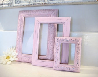 Shabby chic frames, pink frames, picture frames, painted frames, frame set, nursery decor, ornate frame, upcycled frames