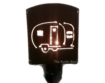 CAMPER CAMPING TRAILER Airstream nightlight night light made of Rustic Rusty Rusted Recycled Metal