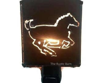 RUNNING HORSE nightlight night light made of Rustic Rusty Rusted Recycled Metal