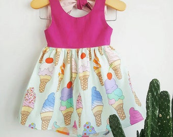 Cosette Ice Cream Dress - Twirl, Knot Dress, Summer Dress, Sleeveless Dress, Baby, Infant, Toddler, Girl