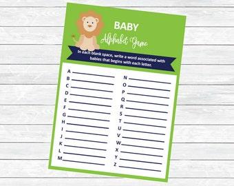 Safari Baby Shower Alphabet Game - Baby Shower Game Printables - Blue Green Baby Shower - Baby Shower Activities - Safari Theme Shower