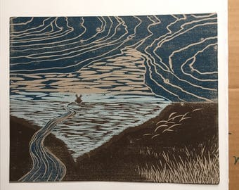 the wind - woodcut print
